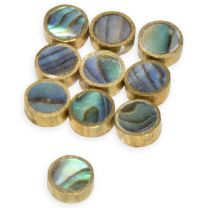 dot 6mm brass with abalone
