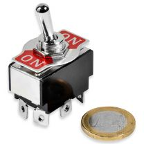 Toggle switch with plate on-on